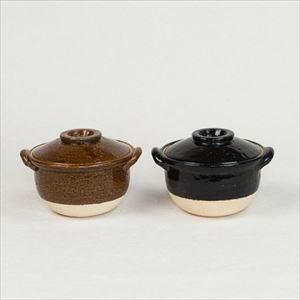 [Set of 2] Petite Donabe / Small clay pot / Ame & Black / Nagatani-en