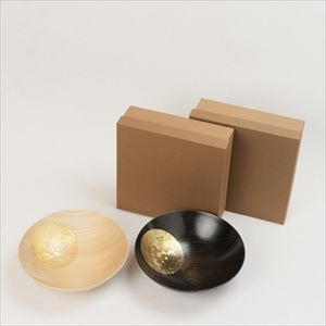 [Set] Pair of Oborozuki bowl / Night moon (Black) & Day moon (Natural) / 8 sun / Hakuichi