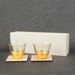 [Set] Pair of Gold leaf tea glasses and Coasters / Kannyu / Hakuichi