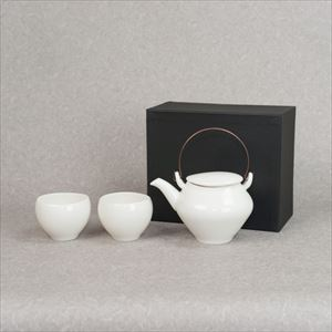 [Set] Dobin and Yunomi / Tea set / Yellowish white porcelain / sou sou series / ceramic japan