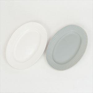 【セット】Stripe オーバルプレート ホワイト&グレー/SAKUZAN