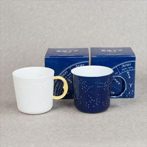 [Set] Pair Constellation mug / Azure blue & Yellow / ceramic japan