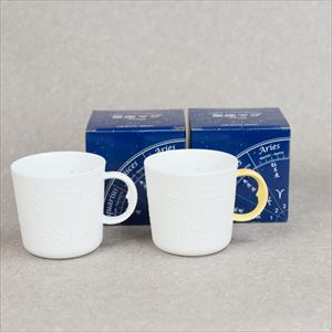 [Set] Pair Constellation mug / Yellow & White / ceramic japan