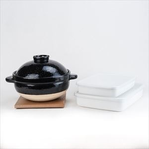 [Set] Easy Nabe party set / Kamado-san 3 rice-cup / Rectangle Shallow M&L