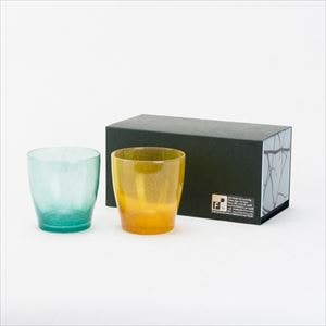 [Set] Pair solito glass / Brilliant gold & Jade green / fresco