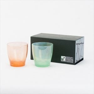 [Set] Pair solito glass / New blue & Apricot / fresco
