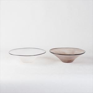 [Set] Pair kasumi bowl / Glass bowl / Ivory & Purple / S / fresco