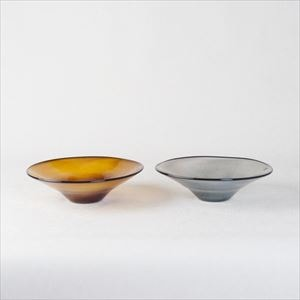 [Set] Pair kasumi bowl / Glass bowl / Brown yellow & Grey / S / fresco