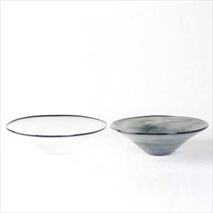 [Set] Pair kasumi bowl / Glass bowl / Ivory & Grey / M / fresco