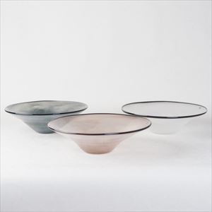 [Set of 3] kasumi bowl / Glass bowl / Ivory & Grey & Purple / M / fresco