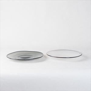 [Set] Pair kasumi plate / Glass plate / Ivory & Grey / S / fresco