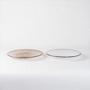 [Set] Pair kasumi plate / Glass plate / Ivory & Purple / S / fresco