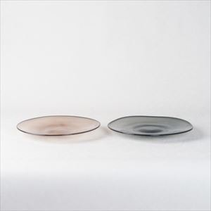 [Set] Pair kasumi plate / Glass plate / Grey & Purple / S / fresco