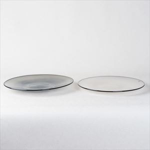 [Set] Pair kasumi plate / Glass plate / Ivory & Grey / M / fresco