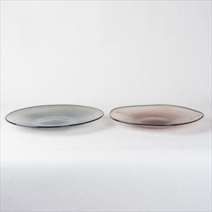 [Set] Pair kasumi plate / Glass plate / Grey & Purple / M / fresco