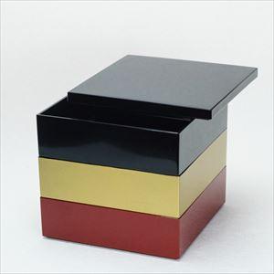 【セット】6.5寸三段重 黒・金・紅(仕切り&梅水引バンド付き)