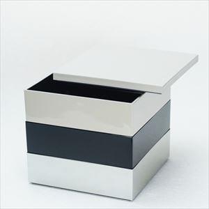 【セット】6.5寸三段重 鈍・黒・銀(仕切り&梅水引バンド付き)