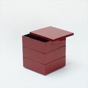 【セット】4.5寸三段重 深紅(仕切り&梅水引バンド付き)