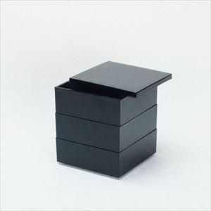 【セット】4.5寸三段重 漆黒(仕切り&梅水引バンド付き)