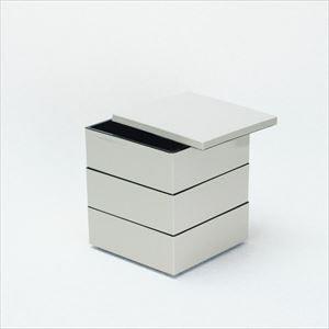 【セット】4.5寸三段重 鈍色(仕切り&梅水引バンド付き)