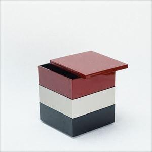 【セット】4.5寸三段重 紅・鈍・黒(仕切り&梅水引バンド付き)