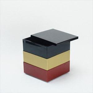 【セット】4.5寸三段重 黒・金・紅(仕切り&梅水引バンド付き)