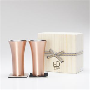 [Set] [Paulownia box] Pair pure copper tumbler / Mat / WDH