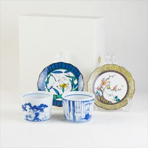 [Set] Kutani and Arita set / Moomin & Snorkmaiden / Moomin series / Soba choko cup and plate / amabro