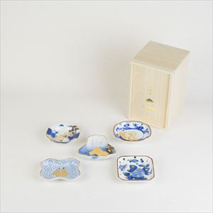[Set of 5] [Paulownia box] Traditional set / MAME series / Mamezara plate / amabro