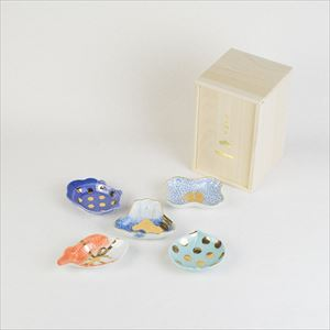 [Set of 5] [Paulownia box] Art piece set / MAME series / Mamezara plate / amabro