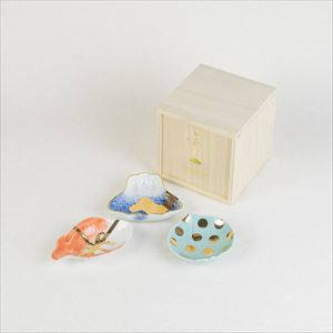 [Set of 3] [Paulownia box] Art piece set / MAME series / Mamezara plate / amabro