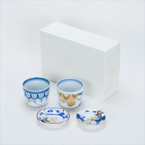 [Set] [Exclusive box] Traditional set / CHOKU & MAME / Soba cups and Mamezara plate / amabro