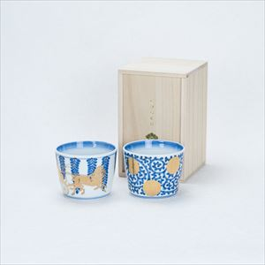 [Set] [Paulownia box] Pair cups / Tako-Karakusa & Fujibana / CHOKU series / Soba cup / amabro