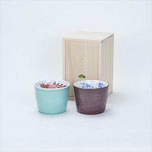 [Set] [Paulownia box] Pair cups / Celadon & Iron glaze / CHOKU series / Soba cup / amabro
