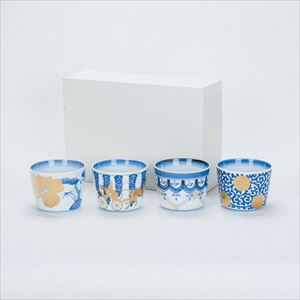 [Set of 4] [Exclusive box] Sometsuke cups / CHOKU series / Soba cup / amabro