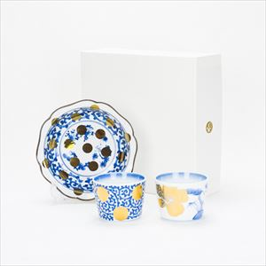 [Set] [Exclusive box] Blue and white set / NAMASU & CHOKU / Deep dish and Soba cup / amabro