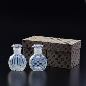 [Set] Pair Soy Sauce Cruet / Ichimatsu & Tokusa/ Taisho Roman Glass / Hirota Glass