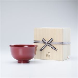 [Paulownia box] Gudakusan Shiru Wan / Large lacquer bowl / Red / WDH