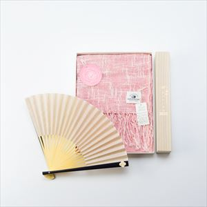 [Set] Linen & organic cotton scarf / Japangarde fan / Rose