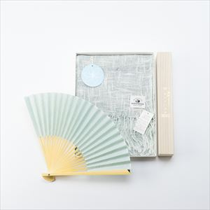 [Set] Linen & organic cotton scarf / Japangarde fan / Cape jasmine