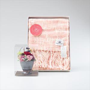 【セット】オーガニックストール&プリザーブドフラワーアレンジ バラ セット/カーネーション