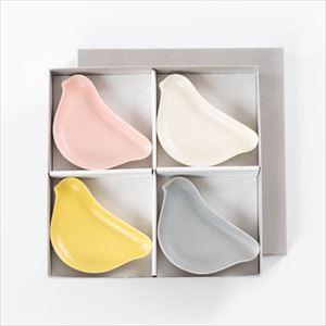 [Set of 4] [Exclusive box] KOTORIZARA / Bird plate / Pale colors set / Floyd