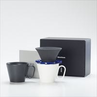 [Set] Caffe hat (Navy) / Mug×2 (Black & White / Mat series)