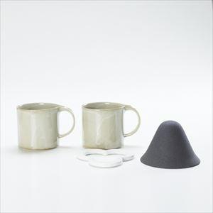 【セット】コーヒー道具 Caffe hat white &マグカップ/モデラート マグ グレー ペアセット_Image_1