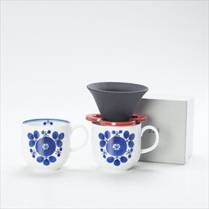 [Set] Caffe hat (Red) / Mug×2 (Bouquet / Bloom series)