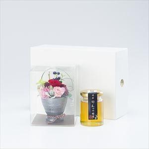 【セット】お花と国産はちみつギフトセット  化粧箱入/りんご