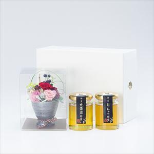 【セット】お花と国産はちみつギフトセット 化粧箱入/北海道&りんご