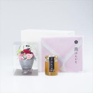 【セット】お花と国産はちみつのハンカチギフトセット 化粧箱入/りんご