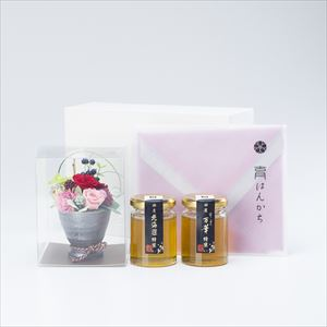 【セット】お花と国産はちみつのハンカチギフトセット 化粧箱入/北海道&万華