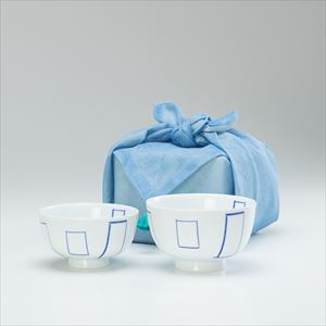 【セット】花茶碗ペア夫婦 マドベ(化粧箱入) 布巾包/東屋